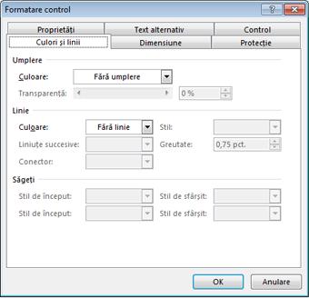 opțiunile din caseta de dialog Formatare control