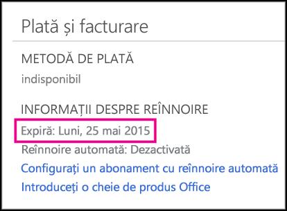 Detaliile despre reînnoirea abonamentului din pagina Cont Office 365.