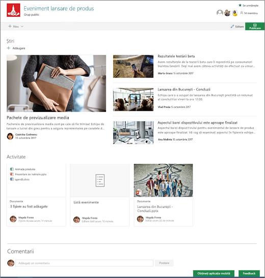Pagina de pornire a site-ul SharePoint echipele