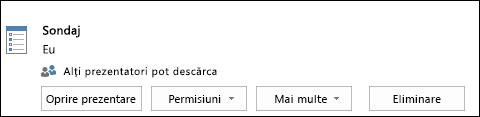 Captură de ecran cu eliminarea unei pagini de sondaj