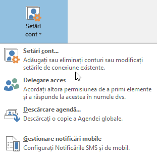Opțiunile disponibile atunci când alegeți setările de cont în Outlook