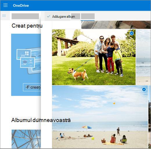 Captură de ecran de a crea un album în OneDrive