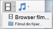 Captură de ecran afișează în Browser film și film din fișier opțiunile disponibile din pagina verticală control. Selectați o opțiune pentru a insera un film în prezentarea PowerPoint.