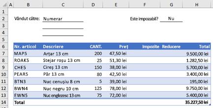 Exemplu de formular de comandă fără o funcție particularizate