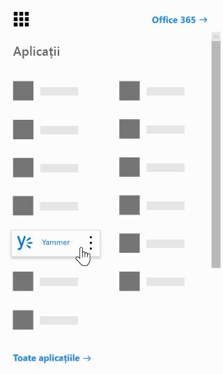Lansatorul de aplicații Office 365 cu aplicația Yammer evidențiat
