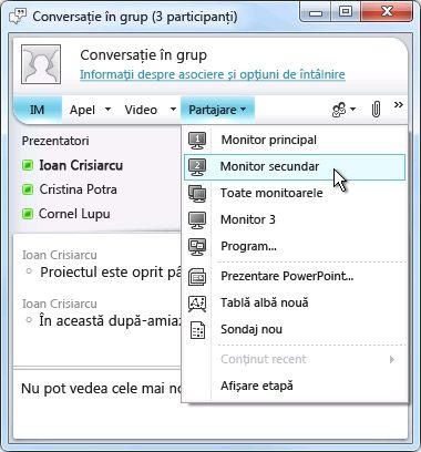 Fereastra Microsoft Lync cu opțiunile de partajare a ecranului
