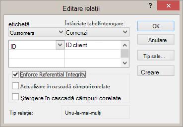 Editarea unei relații existente între tabele