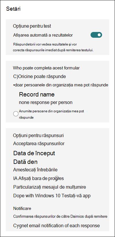 Setări nou pentru Microsoft Forms