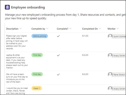 Șablon de îmbarcare pentru angajați