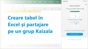Captură de ecran: Crearea tabel în excel și partajarea într-un grup de kaizala