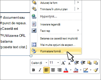 Formatare formă selectată în meniul contextual
