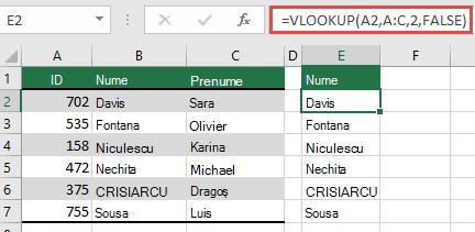 Utilizați VLOOKUP tradițional cu o singură referință lookup_value: = VLOOKUP (a2, A:C, 32, FALSE). Această formulă nu va returna o matrice dinamică, dar poate fi utilizată cu tabelele Excel.