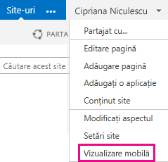 Settings menu in a SharePoint site in pc view