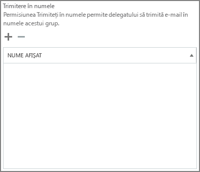 Captură de ecran: alegeți semnul plus pentru a adăuga utilizatori pe care doriți să o trimiteți ca grup Office 365