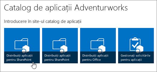Introducere în aplicația catalog dalelor cu distribuirea aplicațiilor pentru SharePoint evidențiată.