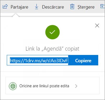 Confirmarea copierii linkului când se partajează fișierele prin intermediul linkului din OneDrive