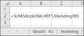 Referințe la formule pe mai multe foi Excel