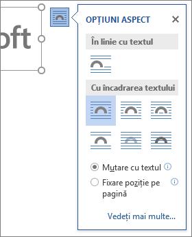Faceți clic pe opțiunile de aspect pentru a alege modul în care va curge textul în jurul imaginii inserate.
