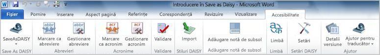 Fila Accesibilitate - Save as DAISY de pe panglică