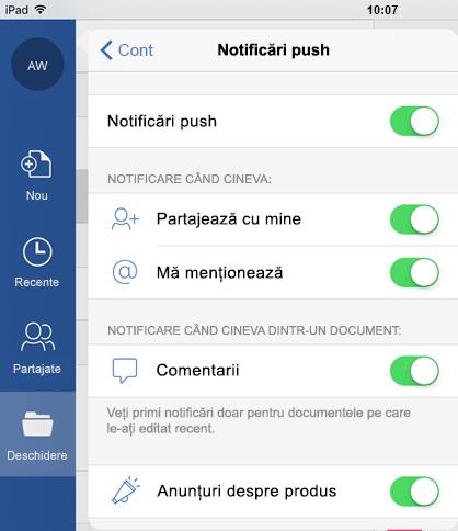 Atingeți butonul de profil pentru a configura notificările push pentru documente partajate