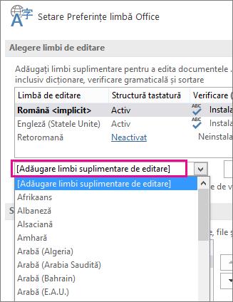 Lista Adăugare limbi suplimentare de editare