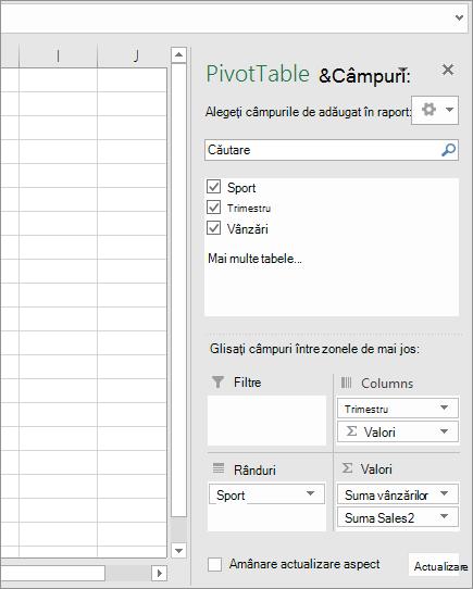 Câmpuri PivotTable