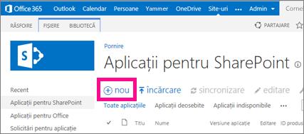Linkul aplicație nouă în biblioteca Aplicații pentru SharePoint din Catalogul de aplicații
