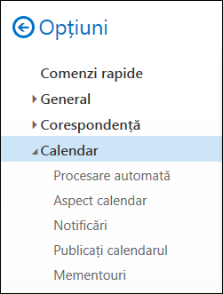 Outlook pe web - opțiunile de calendar