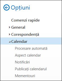 Opțiunile de calendar Outlook pe web