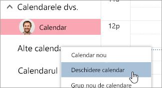 Captură de ecran cu opțiunea Deschidere calendar
