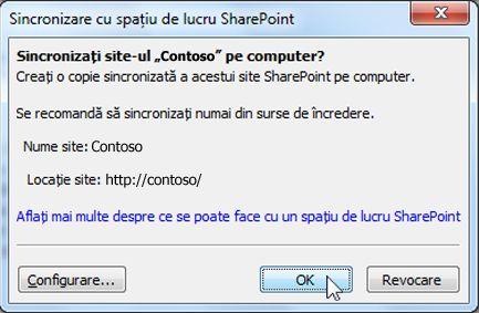 Sincronizare cu caseta de dialog Computer
