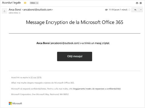 Mesaj primit atunci când încercați să deschideți un mesaj criptat