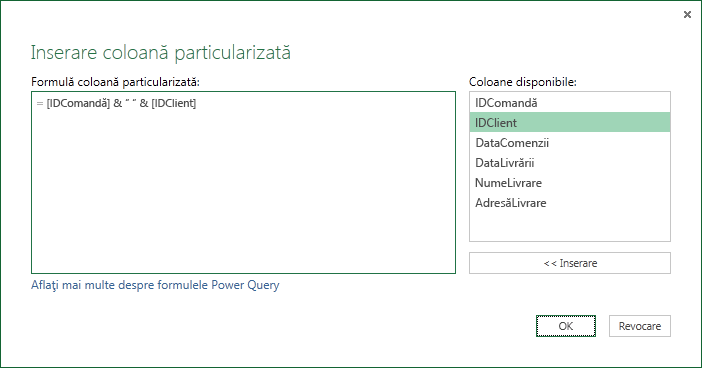 Specificarea unei formule de coloană particularizate pentru a îmbina valori de coloană