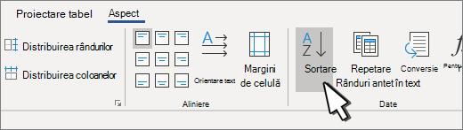 Butonul Sortare atunci când aveți un tabel selectat