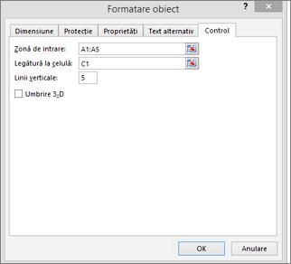 Casetă de dialog Formatare control