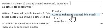 Inserarea unui link într-o pagină Wiki