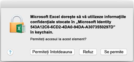 Solicitarea de keychain în Office 2016 pentru Mac