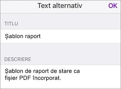 Adăugarea unui text alternativ la un fișier încorporat din OneNote pentru iOS