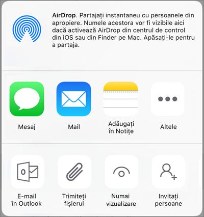 Partajare în OneDrive