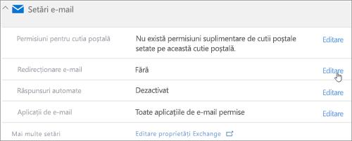 Captură de ecran: Alegeți Editare pentru a configura redirecționării e-mailului