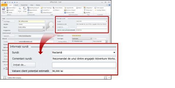 Înregistrarea Client potențial afișând secțiunea Sursă