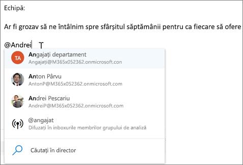 @mențiuni în Outlook pe web