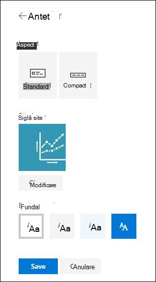 Aspecte antet de site SharePoint