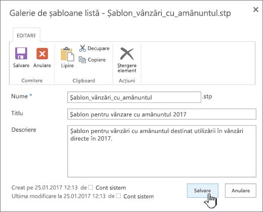 Editarea proprietăților unui șablon de listă