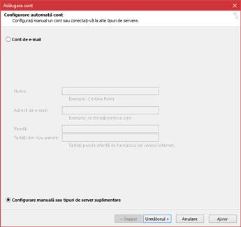 Alegeți Configurare manuală sau tipuri de server suplimentare