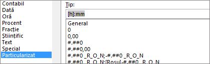 Caseta de dialog Formatare celule, comanda Particularizat, tipul [h]:mm