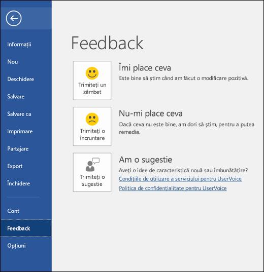 Faceți clic pe Fișier > Feedback pentru a oferi comentarii sau sugestii despre Microsoft Word