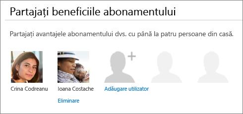 """Captură de ecran cu secțiunea """"Vă partajeze abonamentul"""" în pagina partajare Office 365 care afișează linkul """"Eliminare"""" sub imaginea unui utilizator."""