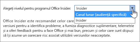 Alegerea nivelului Office Insider
