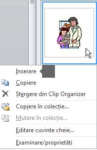 Pentru a insera o imagine, faceți clic dreapta pe o imagine în miniatură și selectați Inserare.